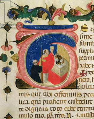 Celebration of the Eucharist, from a Mariegola of the lay guild of St. Jerome, c.1400 (ink & gold leaf on vellum)