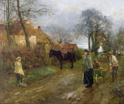 A Country Lane (oil on canvas)