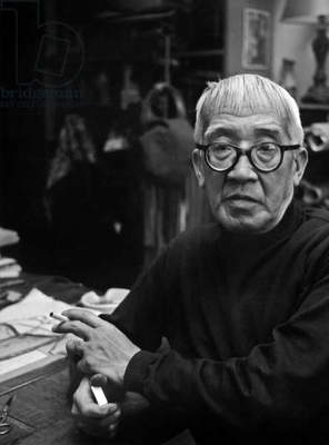 Painter Foujita in Montparnasse Paris November 1957 (b/w photo)