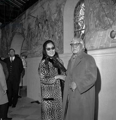 Painter Tsuguharu Foujita with his wife at opening of the chapelle Notre Dame de la Paix, Reims, France, October 18, 1966 (b/w photo)