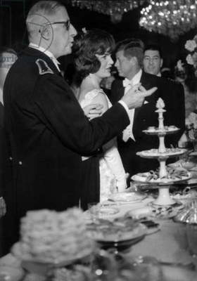 French President General Charles De Gaulle With John and Jackie Kennedy during Official Dinner in Paris (Elysee) May 31, 1961 (b/w photo)