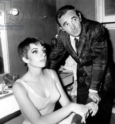 French Singer Charles Aznavour Congratulating Liza Minnelli in Backstage at Olympia May 16, 1966 (b/w photo)