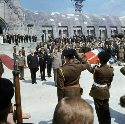 On May 29, 1966, Commemoration For 50Th Anniversary of Battle of Verdun : French President Charles De Gaulle in Douaumont (At Ossuary) With French Minister of Defence Pierre Messmer (L) and his Aide-De-Camp Claude Gay (C) (photo)