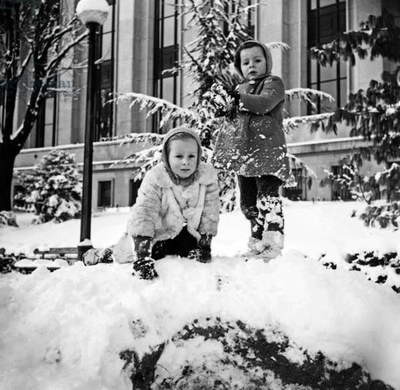 Children Playing in The Snow, January 1945 (Winter) (b/w photo)