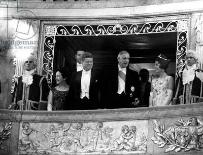 Mrs Yvonne De Gaulle, Americain President John F. Kennedy, General Charles De Gaulle, French President, Jackie Kennedy (Givenchy Dress), in Versailles Castle, June 1St, 1961 (b/w photo)