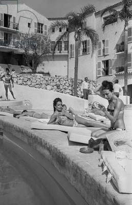 Opening of Famous Luxury Hotel Byblos in Saint Tropez in 1967 (b/w photo)