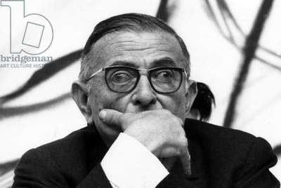 Jean Paul Sartre during The Days of Intellectuals Against War in Vietnam March 23, 1968 (b/w photo)