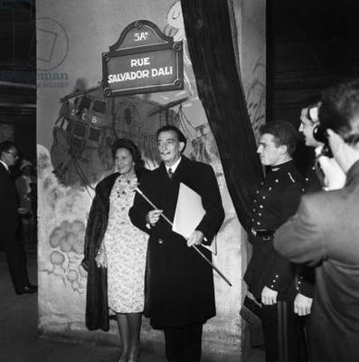 Salvador Dali and Gala at The Inauguration of Salvador Dali Street, at The Ecole Polytechnique, December 13, 1961 (b/w photo)