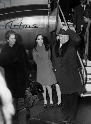 Charlie Chaplin With Is 4Th Wife Oona O'Neill and Their Daughter Josephine, at Orly Airport, Paris, January 11, 1967 (b/w photo)