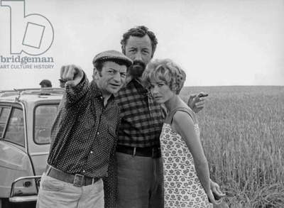 Director Yves Robert With Philippe Noiret and Marlene Jobert on Set of Film Very Happy Alexander 1967 (b/w photo)