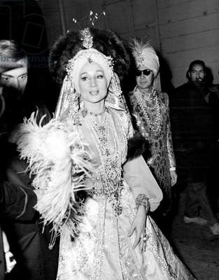 Viscountess of Ribes at Oriental Fancy Dress Ball of Baron De Rede, Lambert Hotel, Paris, 6 December, 1969 (b/w photo)