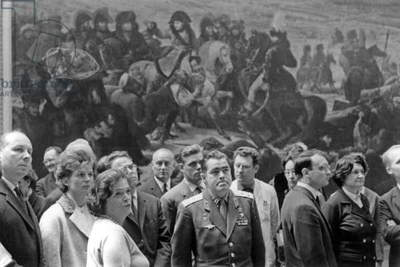 Soviet Cosmonauts Valentina Tereshkova and her Husband Andrian Nikolaiev in Louvre Museum, Paris, May 11, 1965 (b/w photo)
