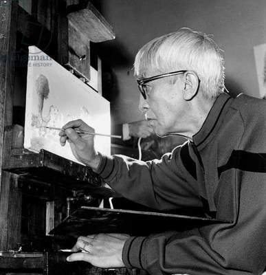 Tsuguharu Foujita (1886-1968) in his Workshop in Paris, C. 1951 (b/w photo)