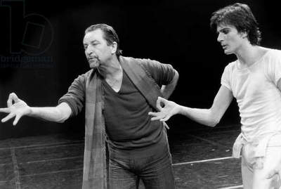 Choreographer Maurice Bejart With Dancer Michel Gascard during Rehearsal of Ballet Petrushka in Paris January 28, 1983 (b/w photo)