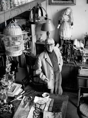 Painter Tsuguharu Foujita (1886-1968) in his Workshop in Paris November 1957 (b/w photo)