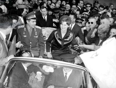 First Cosmonaut Woman Valentina Tereshkova and her Husband Andrian Nikolaiev Arriving in Paris Le Bourget May 10, 1965 (b/w photo)
