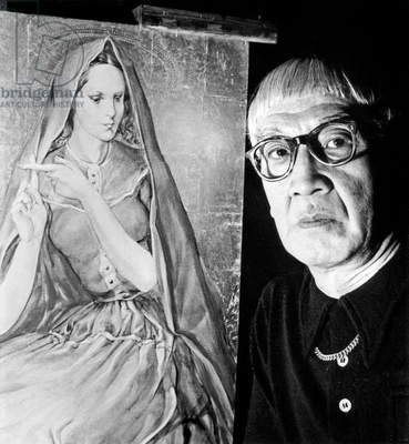 Painter Foujita (1886-1968) With One of his Paintings C. 1950 (b/w photo)
