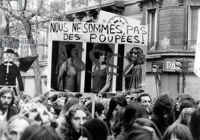 International March of Women in Paris on November 20, 1971 For Legalization of Abortion (b/w photo)