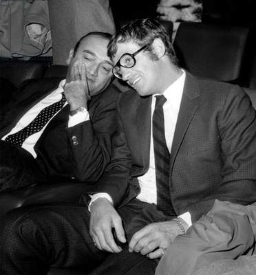 French Director Henri Verneuil and Actor Jean Paul Belmondo at Premiere of Film in Paris October 17, 1968 (b/w photo)