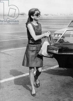 Jackie Kennedy Onassis in 1970 (Shoes By Roger Vivier) (b/w photo)