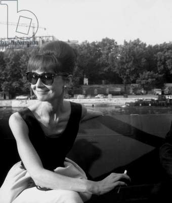Actress Audrey Hepburn on the set film Paris