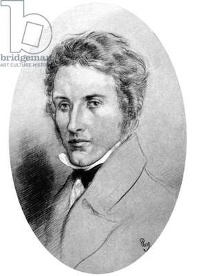 Percy Bysshe Shelley (1792-1822) English poet, drawing by Gordon Ross