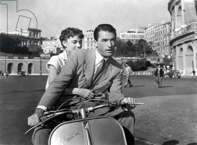 Roman Holiday with Gregory Peck and Audrey Hepburn, 1953 (b/w photo)