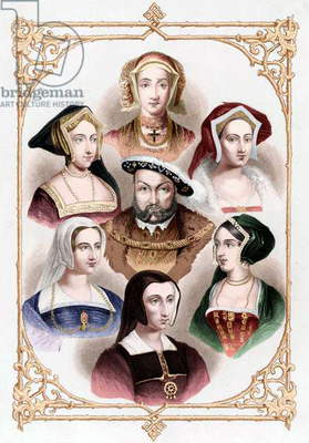 English King Henri VIII (1491-1547) with his 6 wives : top : Anne of Cleves ; on a l : Jane Seymour and Catherine Parr ; on r : Catherine Howard and Ann Boleyn ; bottom : Catherine of Aragon, engraving colourized document