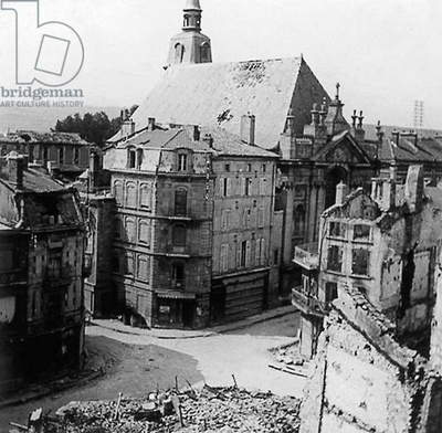View of houses in ruins in Verdun Meuse, France) after fights during ww1 essentially Verdun battle in 1916