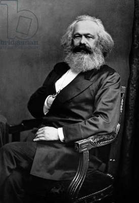 Karl Marx (1818-1883) German politician economist and philosopher one of the authors of Communist Party Manifesto (1848), here c. 1873, photograph by Mayall &Co
