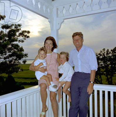 President John Kennedy with his wife Jackie and their children John Fitzgerald Kennedy Jr and Caroline c. 1963 in Hyannis Port