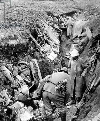 View of the trenches in Verdun France in 1916 during the great war