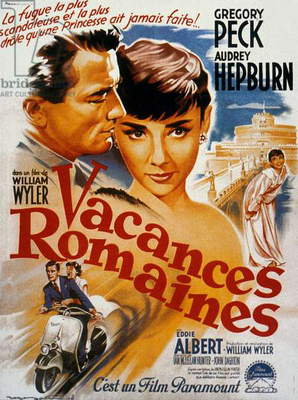 'Roman Holiday' directed by William Wyler starring Audrey Hepburn and Gregory Peck, 1953 (colour lithograph)