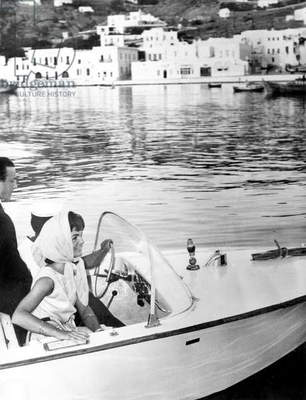 Jackie Kennedy on boat near Mykonos greek island June 13, 1961