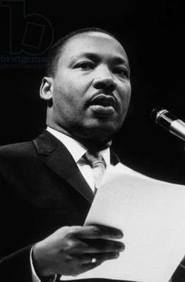 Martin Luther King  (1929-1968) American priest activist for Civil Right Movement black Americans here c. 1964