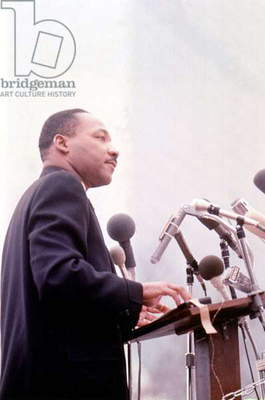 Martin Luther King  (1929-1968) American priest activist for Civil Right Movement black Americans here c. 1965