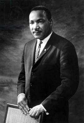 Martin Luther King  (1929-1968) American priest activist for Civil Right Movement black Americans here in 1965