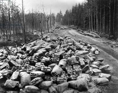 Cans left by Germans after battle of Ardennes January 1945