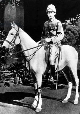Winston Churchill riding horse in Bangalore, India, 1896