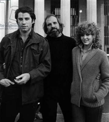 John Travolta, film director Brian de Palma and Nancy Allen on the set of the film Blow Out, 1981.