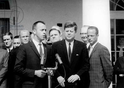 The Astronaut Alan B. Shepard rewarded by American President John Kennedy at White House in Washington, May 8, 1961 (Mercury project)