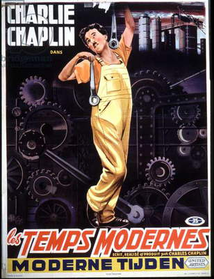 Belgian poster for film Modern Times by Charlie Chaplin (1936), c. 1950