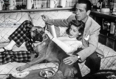 Lauren Bacall and Humphrey Bogart (1899 - 1957), at home with their dog.
