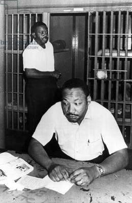 Martin Luther King  (MLK) in prison in St John County (St Augustine) Florida after a sit in protest against segregation in front of a motel in 1964
