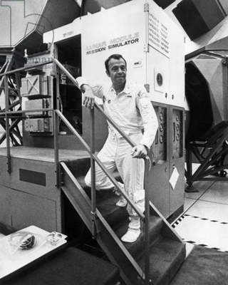 Apollo 14 (January - February 1971) : American Astronaut Alan Shepard Outside Simulator of Lunar Module during Training (b/w photo)