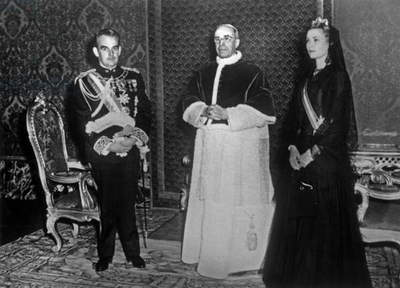 Prince Rainier Iii of Monaco and Princess Grace Kelly With Pope Pius Xii ( Eugenio Pacelli) at The Vatican on May 1St, 1957 (b/w photo)