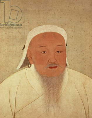 Portrait of Genghis Khan (c.1162-1227), Mongol Khan, founder of the Imperial Dynasty, the Yuan, making China the centre of the great Mongol Empire (1260-1368), (ink and w/c on silk, silk patterned border)