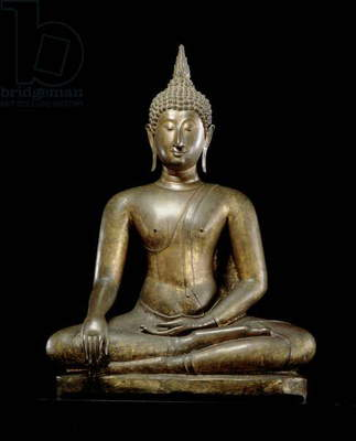 Buddha at the Moment of Victory, Sukhothai style (leaded bronze)