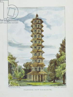 Pagoda, Kew Gardens, plate 9 from 'Kew Gardens: A Series of Twenty-Four Drawings on Stone', engraved by Charles Hullmandel (1789-1850) published 1820 (hand-coloured litho)