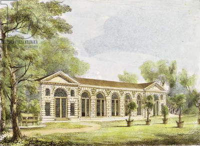 Orangery, Kew Gardens, plate 11 from 'Kew Gardens: A Series of Twenty-Four Drawings on Stone', engraved by Charles Hullmandel (1789-1850) published 1820 (hand-coloured litho)